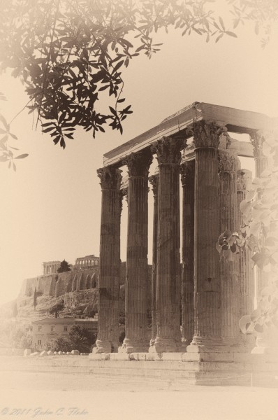 Temple of Zeus with Acropolis in Background