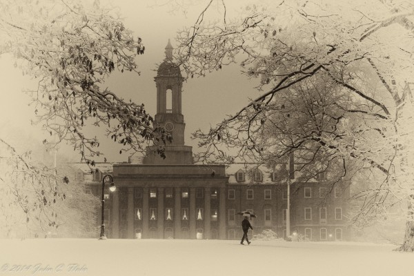 Snow Comes To Happy Valley Old Main - The Pennsylvania State University