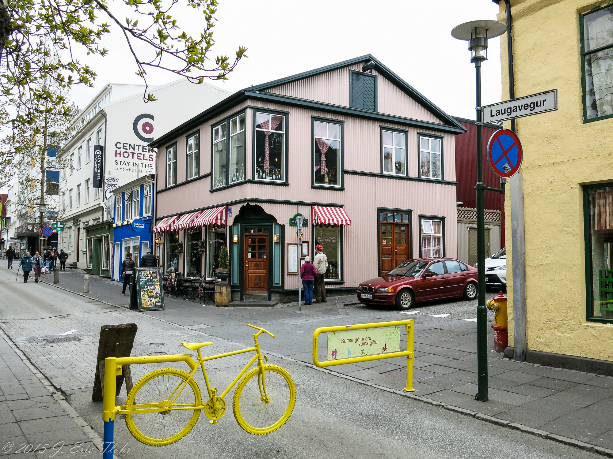 Street Corner With Bicycle Gate